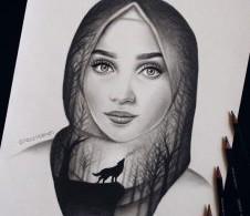 الفنانة التشكيلية السورية الشابة نور حليمة.. بخطوط واثقة تبدع في رسم الشخصيات ..